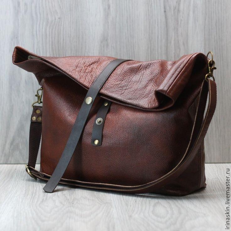 """Купить Большая кожаная сумка-мешок """"November"""". Темно-коричневый. - коричневый, темно-коричневый, шоколадный"""