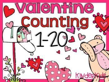 FREEBIE - Valentine Counting Math Center 1-20