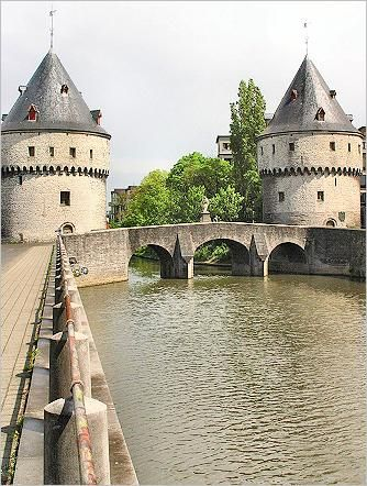 The Broeltowers alongside the Leie river, Kortrijk, Belgium