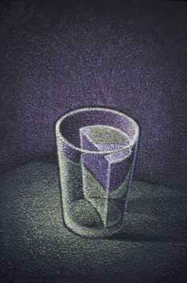High angle view of a glass half full with water