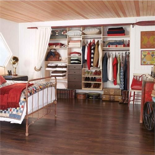 Reach In Closet, Classic System in White with Chocolate Peartree Drawer Fronts by California Closets on HomePortfolio