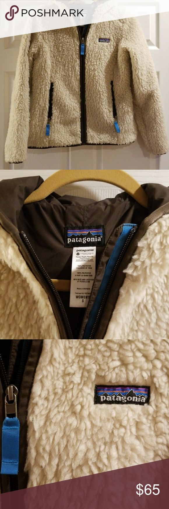 Women's Patagonia jacket Size small women's Patagonia zip up medium weight jacket cream fuzzy outside lined in dark brown. I love this jacket but it never really gets cold enough here for me to wear it. Patagonia Jackets & Coats