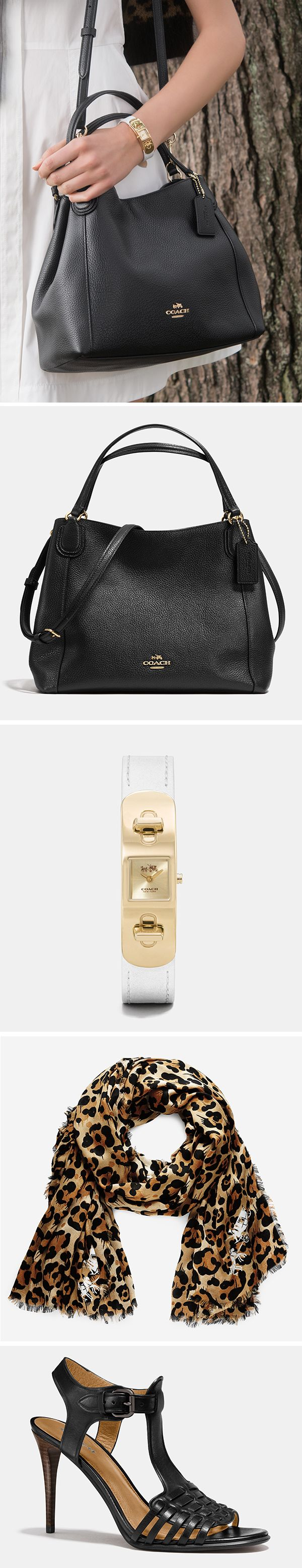 Made to wear now or wear later, the Edie 28 is a versatile, black pebble leather shoulder bag. Pair it with a leopard print scarf and black sandals for summer chic.