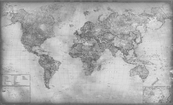 Gray World Map 2021 Modern Neutral Gray Wall Art Gray Tones Etsy Grey Wall Art World Map Wall Maps