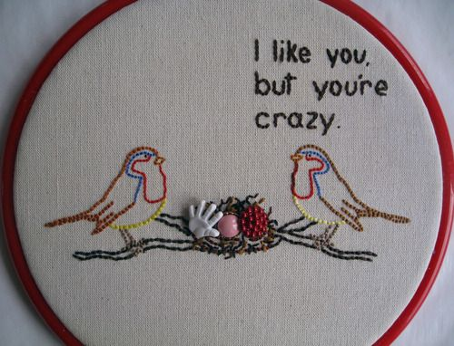Perfect.: Bird Needlepoint, Crazy Love, Stuff, Housewarming Gift, Cross Stitch, You Re Crazy, Craft Ideas, Embroidery