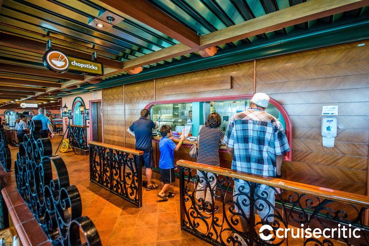 Chopsticks (Deck 9 aft): This window, located at one of the entrances to the Mediterranean Restaurant, serves dishes like sushi, vegetables, pork or chicken with noodles, chili and seafood during lunchtime.