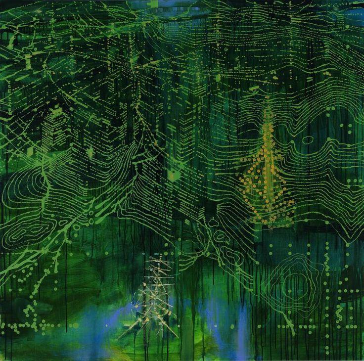 Jon Cattapan (Australian, b. 1956), Night Vision Topography (Two Antennas), 2010. Oil and acrylic on linen, 140 x 140 cm.
