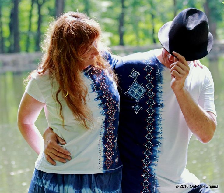 Dámske a pánske tričká, ručne batikované, ručne maľované, pre pár, folk ŠIRÁKOVÝ
