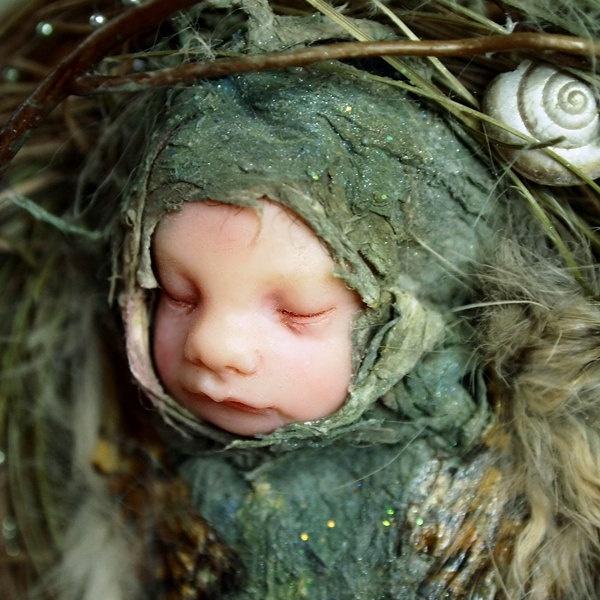 Frog Fairy on Toadstool Hand-sculpted OOAK Art Doll Sculpture