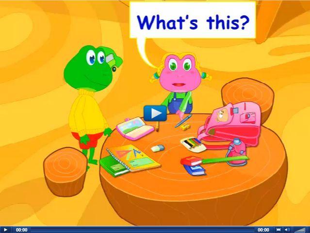 Engels leren aan kleuters met het digibord , what's this, it's a book , what's that, it's an eraser