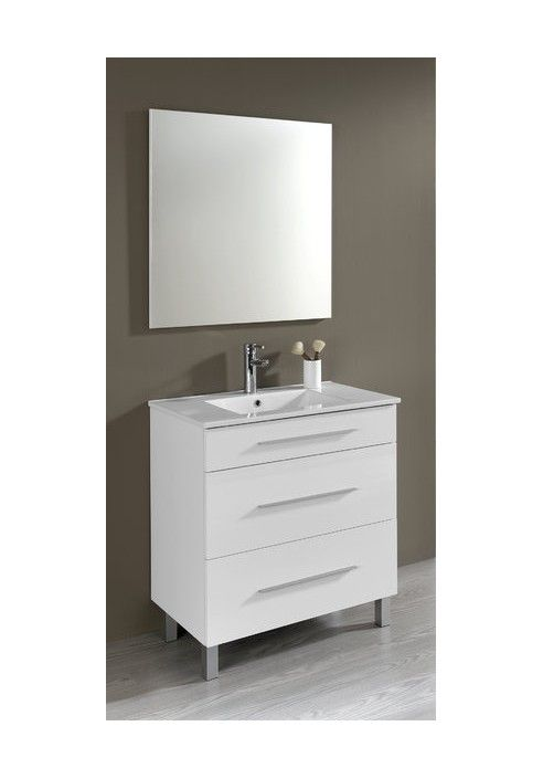 Conjunto mueble de ba o aris 80 cm blanco con tres for Banos divididos en tres