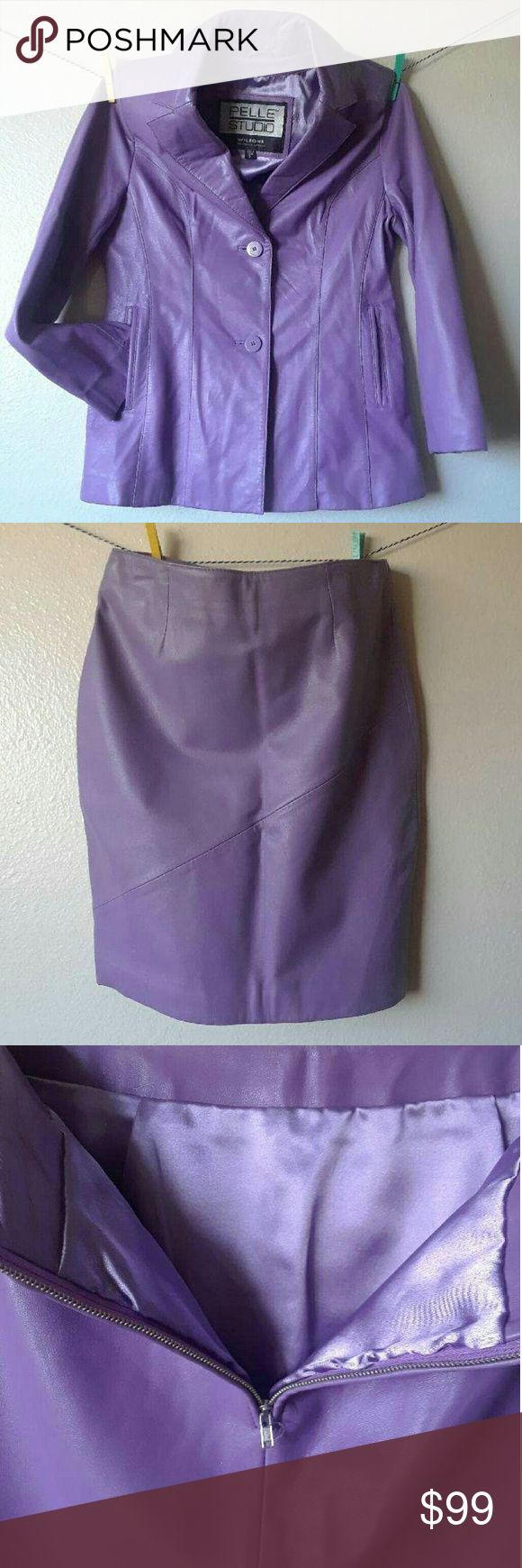 Purple Leather Jacket Skirt Set Wilson's purple Leather Blazer Jacket and skirt set. Excellent condition, feont pockets, buttin front. Zippers function fine. Comfortable, silky lining, sexy! Jacket is a fitted blazer style size SMALL Skirt is a fitted mini style size 6 Wilsons Leather Jackets & Coats Blazers