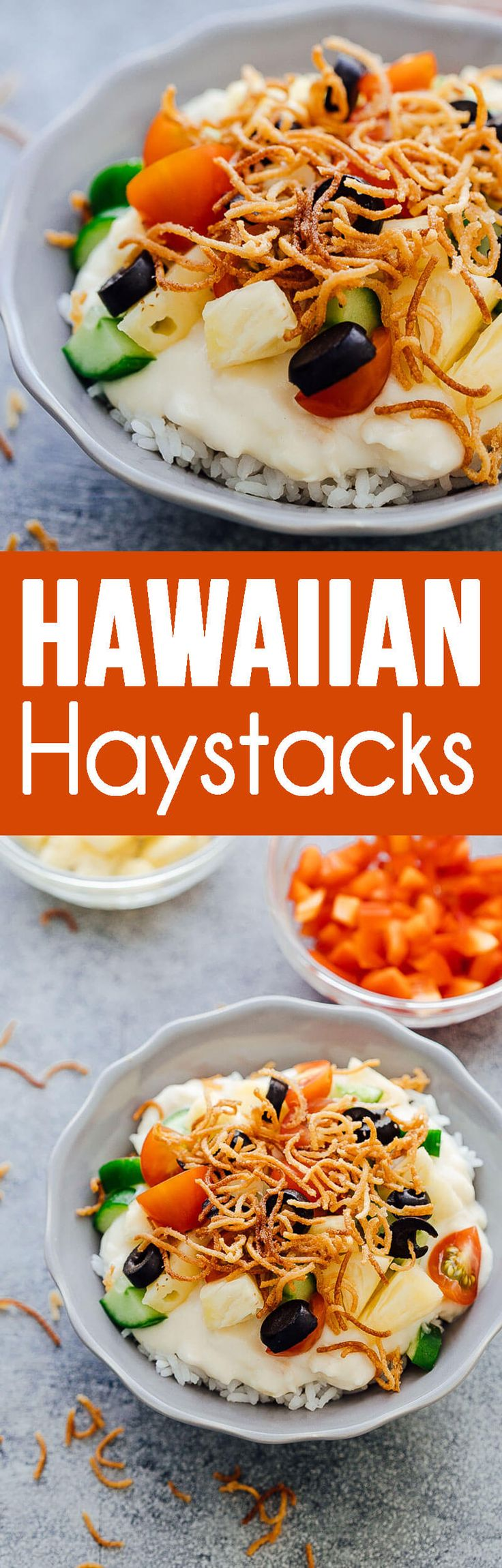 Hawaiian Haystacks are made up of creamy chicken and topped with lots of fun toppings.