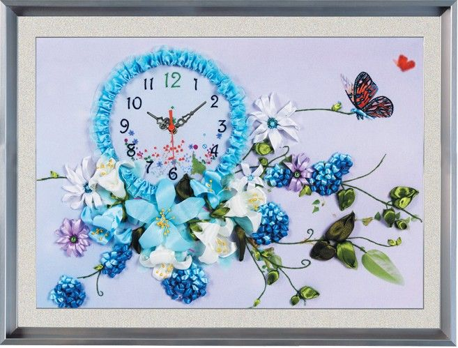 Ribbon embroidery clock hang a picture to the sitting room decoration embroidery free shipping and blue butterfly flower scenery $17.60