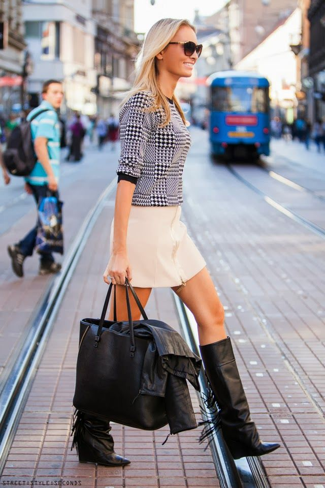 fringed knee high boots and mini skirt my style