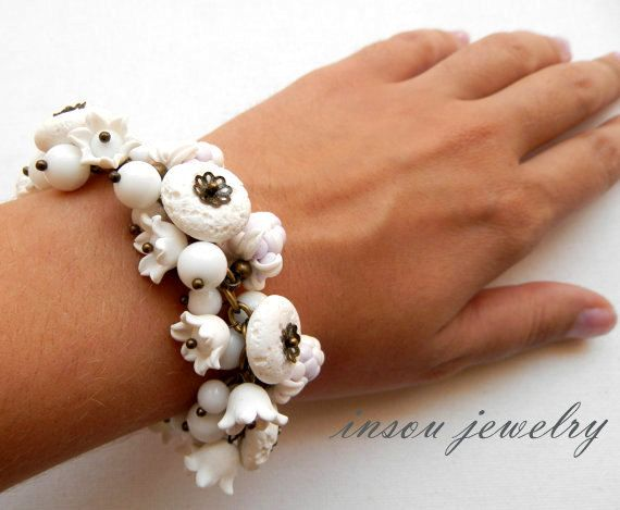 Berry Bracelet Flower Bracelet White Bracelet Lavender Bracelet Berries Lily Of The Valley Gift For Her White Jewelry Statement Bracelet