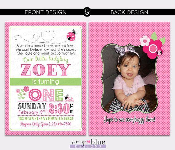 Pink Ladybug Birthday Invitation 1st Birthday Typographic
