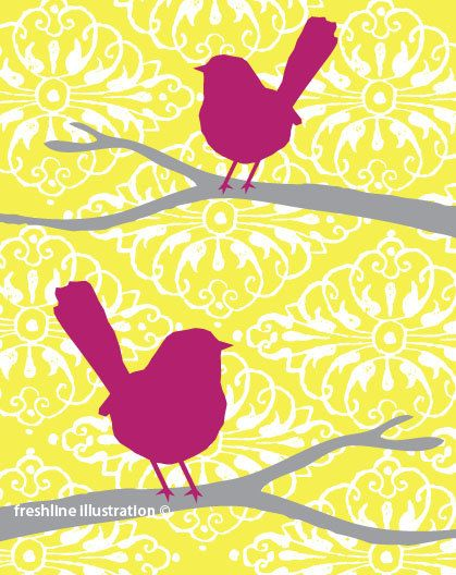 Birds on Branches in Yellow, Gray, Grey, Purple or your Custom Color Scheme 8x10 Art Print. $18.00, via Etsy.