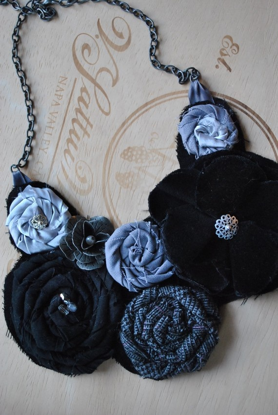 Fabric Flower Bib Necklace