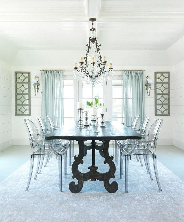 Dining In This Space Underfoot With A Silk Rug From Stark On The Infamous  Louie Ghost Chairs On A Weathered Plank Top Table With Shimmering Lights And