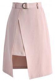 Allure Belted Split Hem юбка в розовый