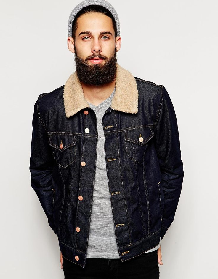 ASOS Western Denim Jacket With Borg Collar