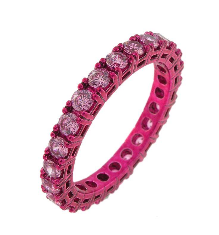 anello fucsia con zirconi rosa