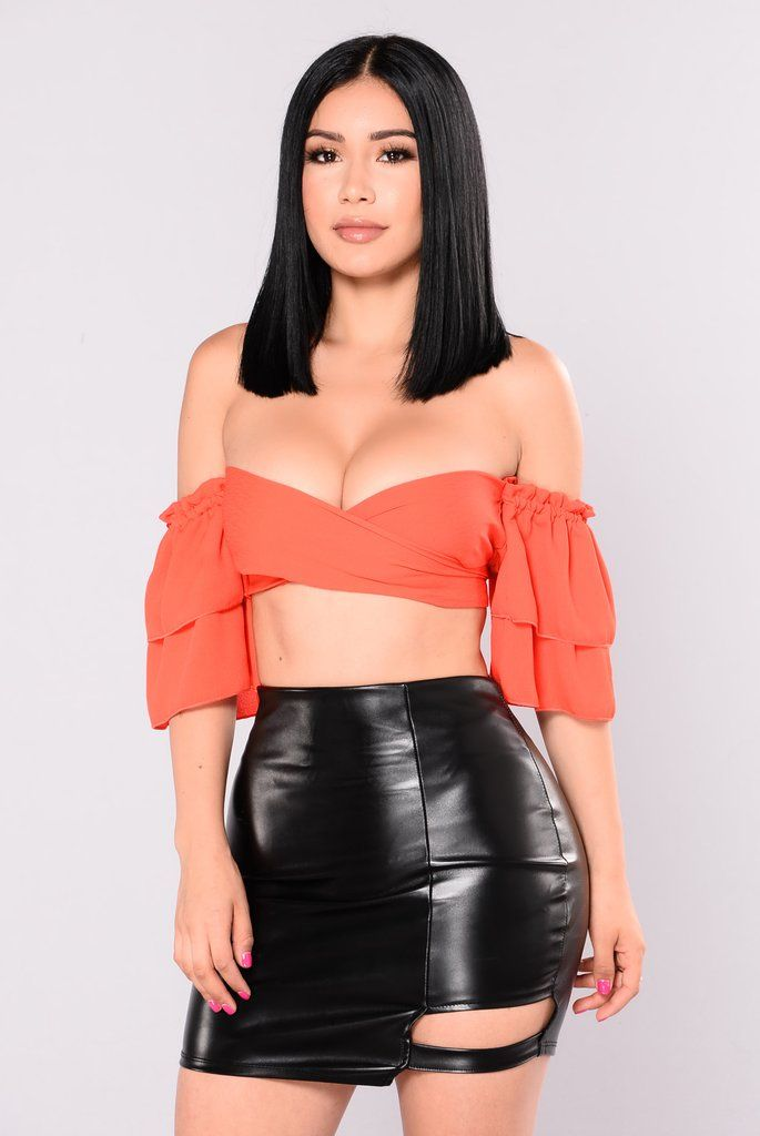 Sara May Off Shoulder Top - Orange Red