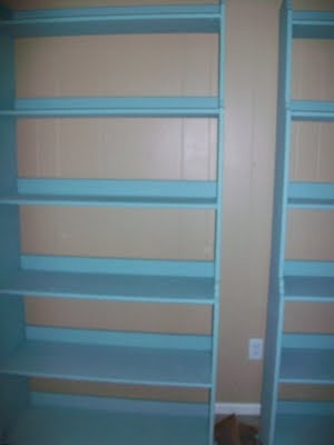 Painting ikea bookcases home improvement pinterest for Ikea blue billy bookcase