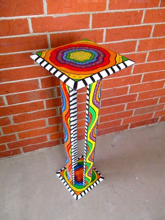 Rainbow Colored Hand Painted Tall Side Table by Bofranky on Etsy