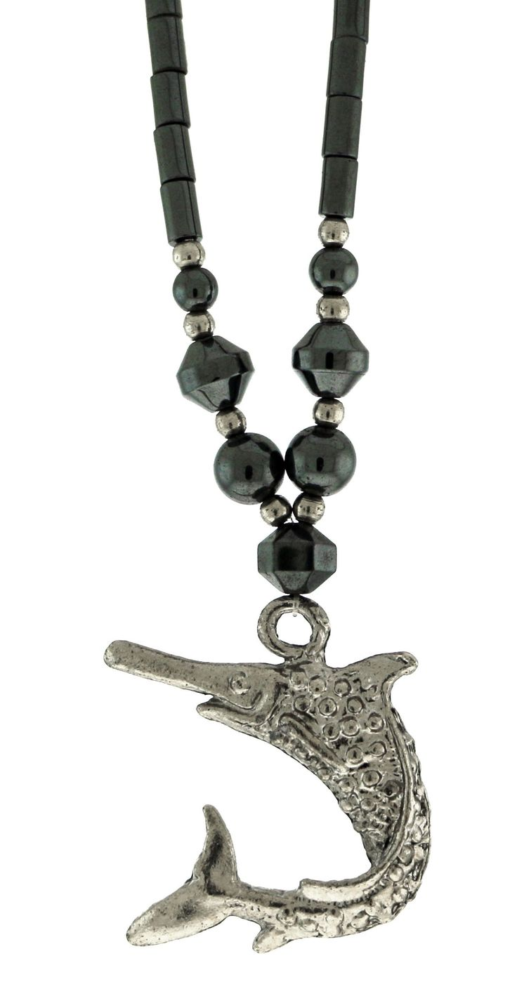 Beaded Hematite Necklace With Silver-Tone Sword Fish Charm HN014