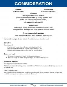 Consideration - Character Lesson Plan. Free, downloadable, 52 total.