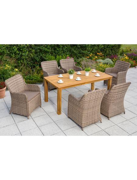 Gartenmöbelset »Lissabon«, 13-tlg, 6 Sessel, Tisch 185x90 cm - gartenmobel polyrattan eckbank