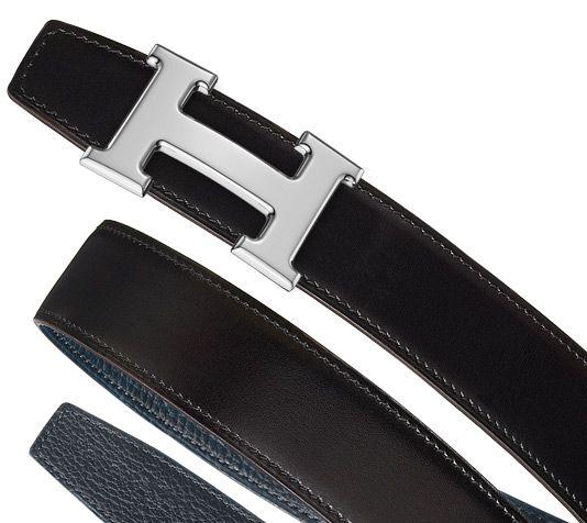 Hermès - Cintura a comporre - Pelle reversibile per cintura da uomo in vitello Box, color cioccolato e vitello Togo, color blu indaco (altezza 32 mm) & Fibbia metallo argento e palladio