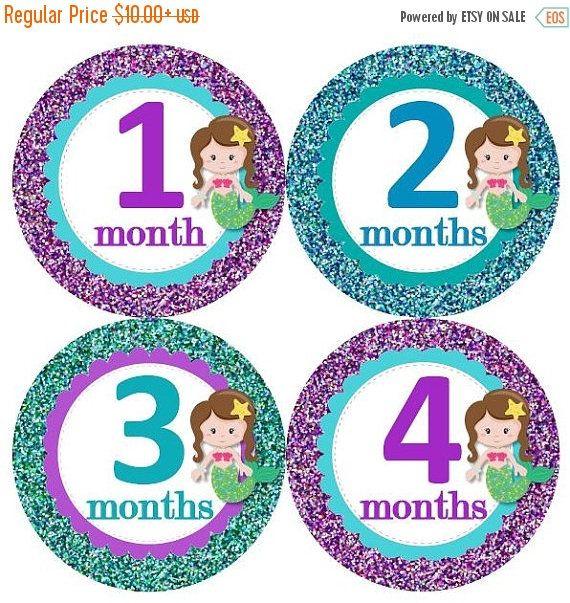 SALE Baby Monthly Milestone Growth Stickers Aqua Turquoise Purple Glitter Brunette Mermaids Nursery Theme MS929 Baby Shower Gift Baby Photo