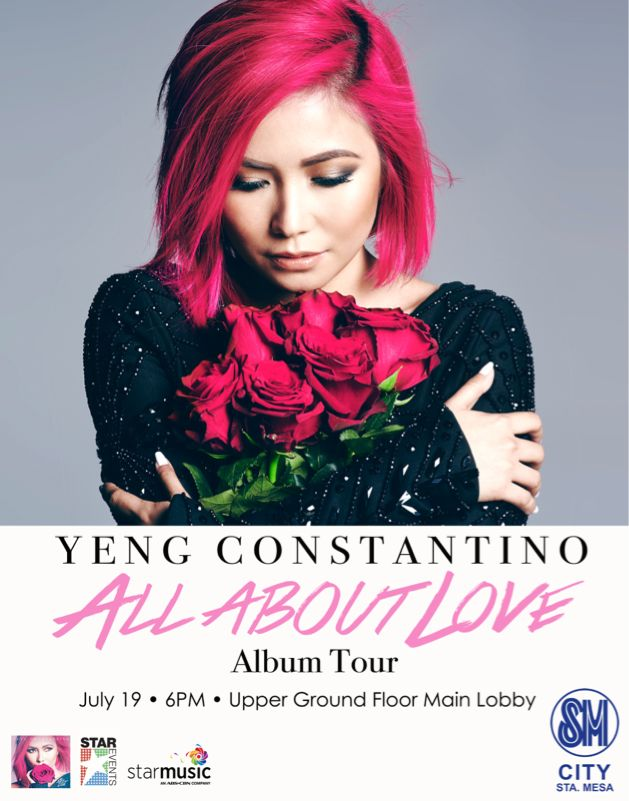 Catch YENG CONSTANTINO LIVE on July 19 (Sunday), 6pm at Upper Ground Floor Main Lobby!  See you all fab shoppers!  ‪#‎YengConstantino‬ ‪#‎AlbumTour‬ ‪#‎WhatsON‬ ‪#‎iLoveSM‬ ‪#‎iLoveSMStaMesa‬ #SMEvents #SMStaMesaEvents