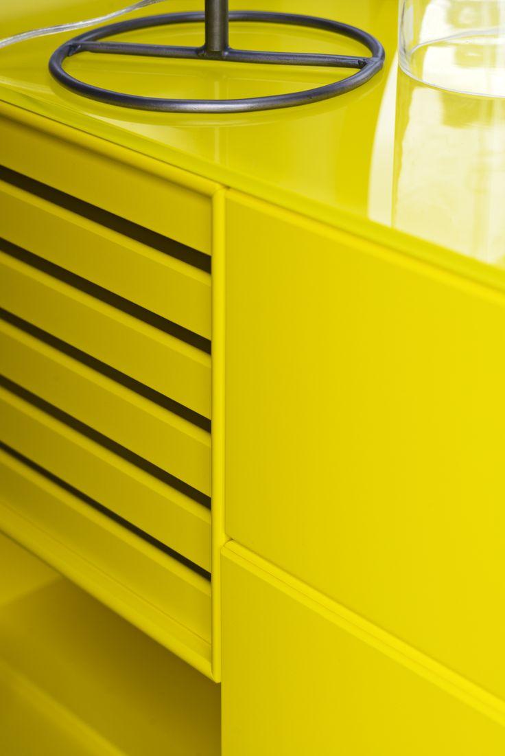 Detail: Trays in Tokyo Yellow. #montana #furniture #danish #design #interior #shelving #decor #yellow #storage