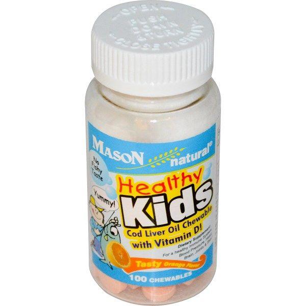 Мейсон Витамины, Здоровые дети, Рыбий жир жевательные, с витамином D, вкусный аромат апельсина, 100 Chewables
