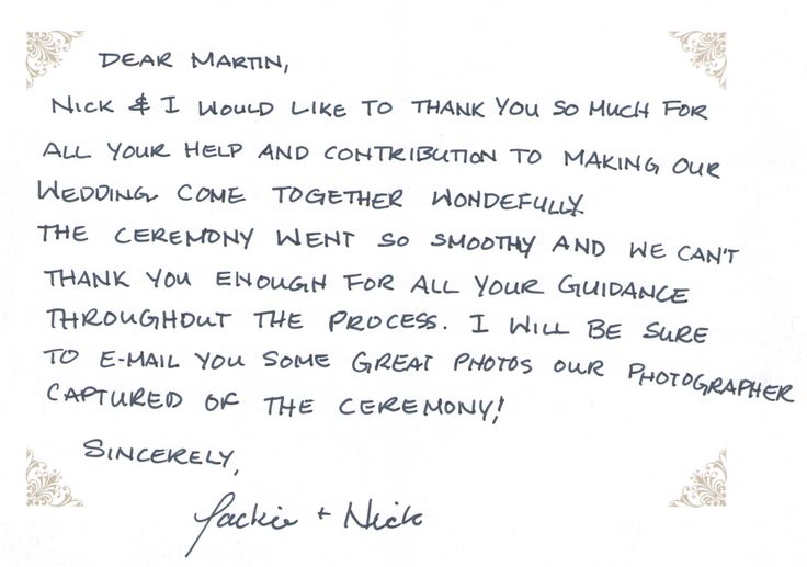Some kind words from Jackie & Nick