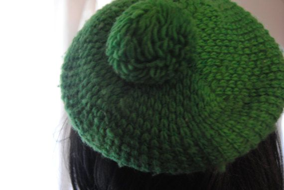 Green Beret/Golf Hat/Women's Hat with pompom/Green by AtRaYaLsLoOt