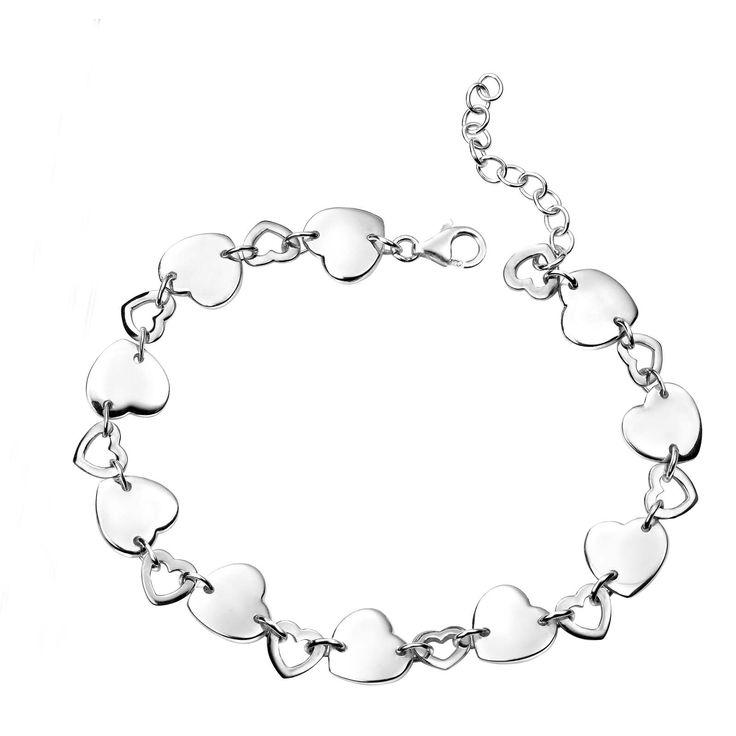 Interlinked Silver Hearts Bracelet #silver #jewellery