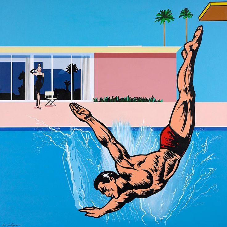 #Inspiración Antonio de Felipe. 'El gran salto o Tirarse a la piscina'. 2008. Acrílico sobre lienzo.