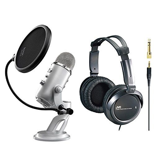 Blue Microphones Yeti USB Multi-Pattern Microphone with Full Size Studio Headphones and Knox Pop Filter for Yeti Microphone Blue Microphones http://www.amazon.com/dp/B003LRY1UE/ref=cm_sw_r_pi_dp_XLjMvb00MZ68P
