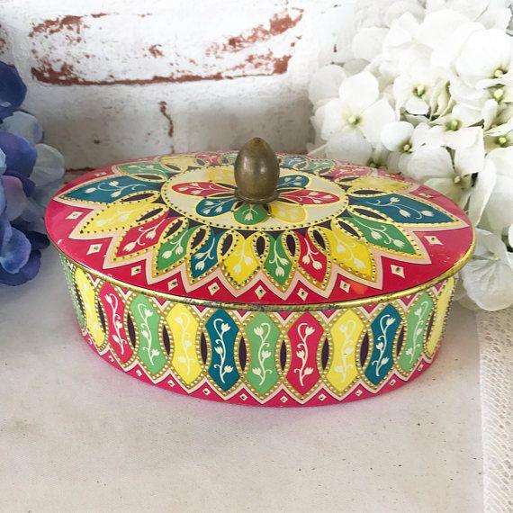 Vintage Colorful Dutch tin biscuit Box Dresser trinket box cookie barrel. Shabby Chic pink blue Kitchen Storage jar Retro boho canister by WonderCabinetArts