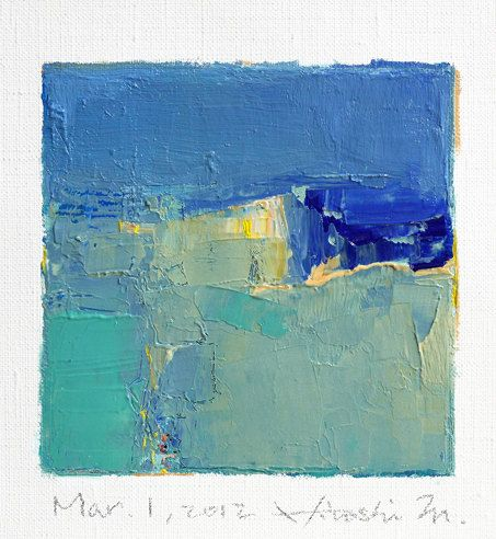 Mar. 1, 2012 - Original Abstract Oil Painting - 9x9 painting (9 x 9 cm - app. 4 x 4 inch) with 8 x 10 inch mat