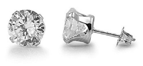 925 STERLING SILVER CUBIC ZIRCONIA CZ ROUND 4MM STUD EARRINGS. UNISEX. BRAND NEW