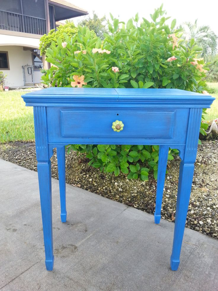 Blue Vintage Sewing Table for Nightstand, Entryway table, Living room, with hinged drawer storage by RightUpMyAlleyDesign on Etsy