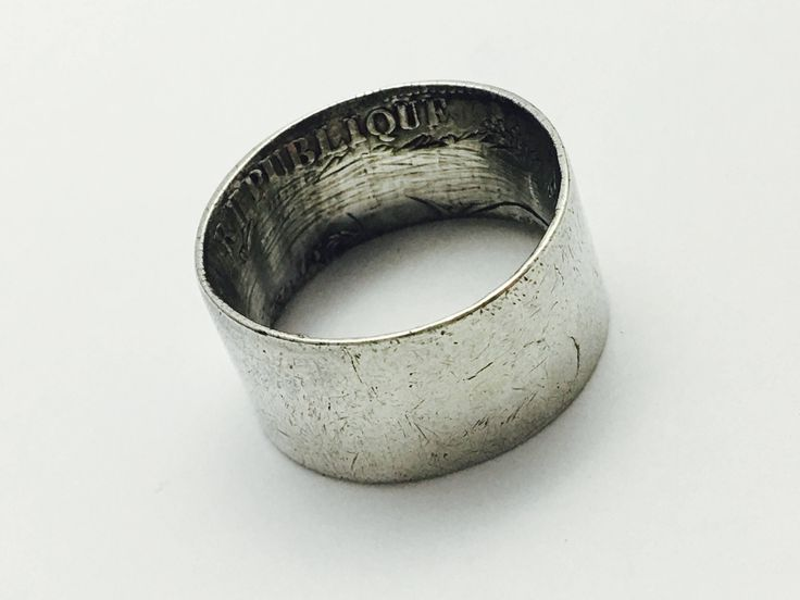 Vintage Repurposed  Liberte Egalite Fraternite silver 5 franc  coin French Men's Ring Size 10 -14.9g by UpcycledUpstyled on Etsy