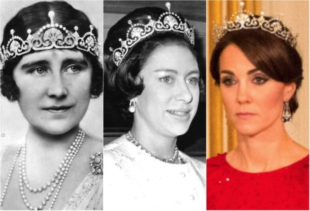 Elizabeth, Duquesa de York (mãe da Rainha Elizabeth II), Princesa Margaret e Kate Middleton, Duquesa de Cambridge (Foto: Getty Images)                                                                                                                                                     Mais