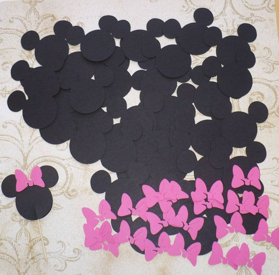 Minnie Mouse Head Shapes Hot Pink Bow Die Cut pieces for crafts Cupcake Picks DIY Kids Crafts Birthday Party etc.